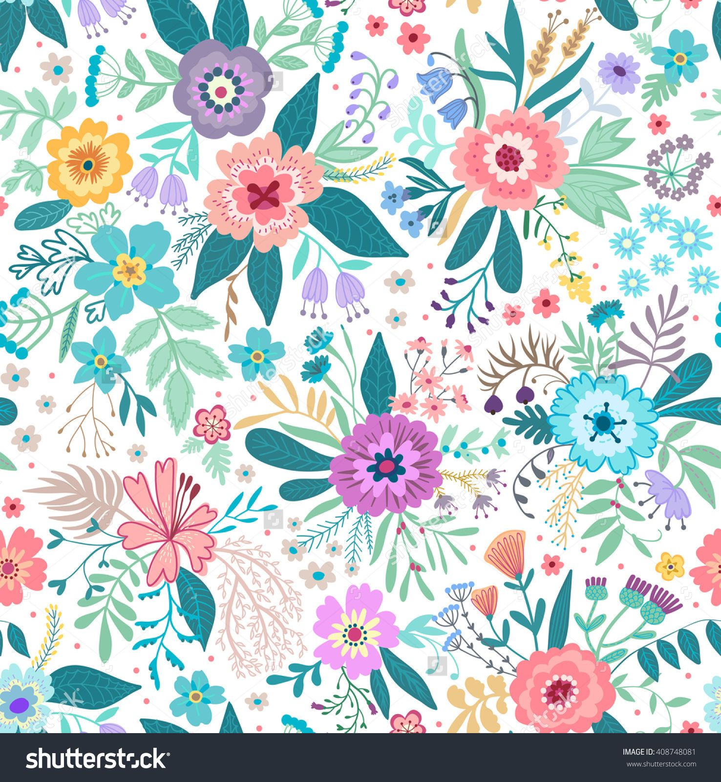 Beautiful Pattern In Small Abstract Flower. Small Colorful