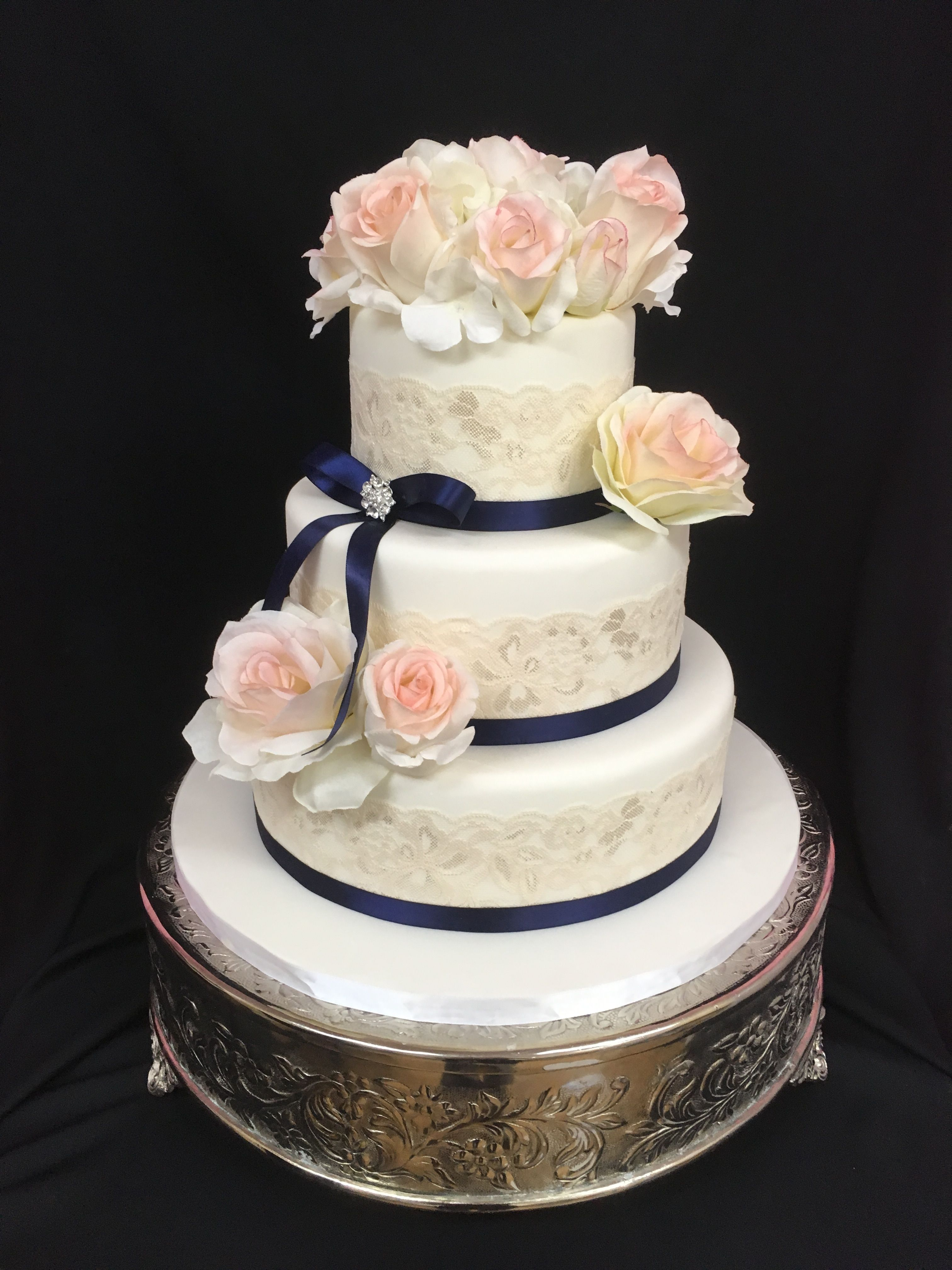 Wedding Cake with Champagne Lace & Blush Roses