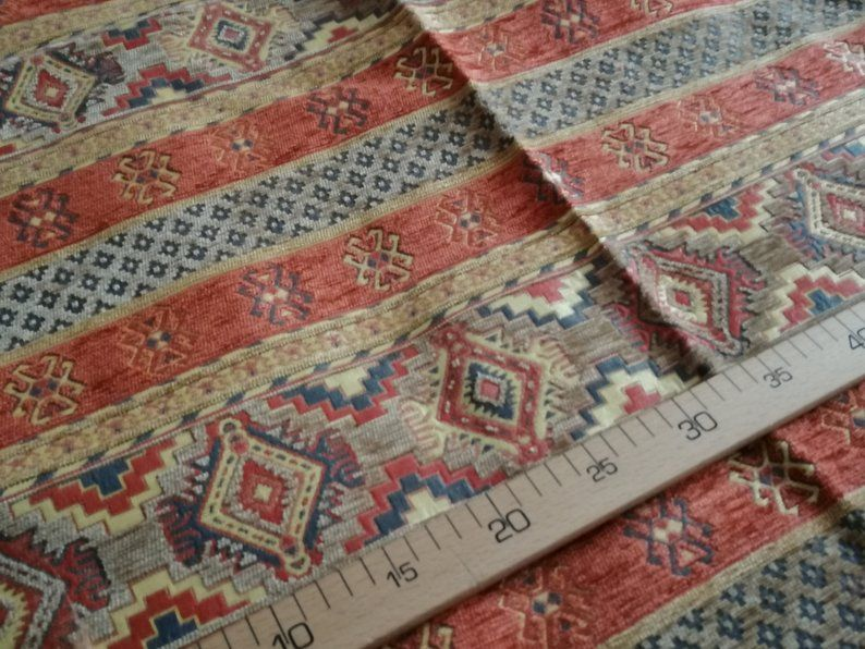 Kilim Patchwork Chenille Grey Red Blue Green Yellow Upholstery Furniture Fabric