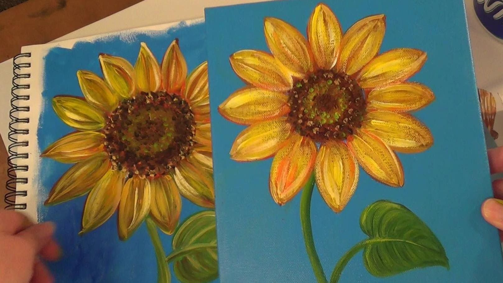 Easy sunflower paintings the image kid for Mural simple