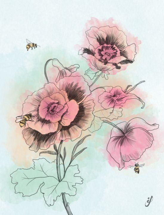 Flores con abejas El dibujo de las flores es un fragmento de un
