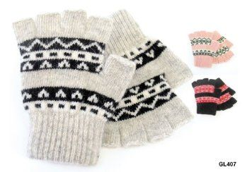 Ladies Fairisle Knitted Fingerless Gloves With Wool One Size GL407; available in 3 colourways
