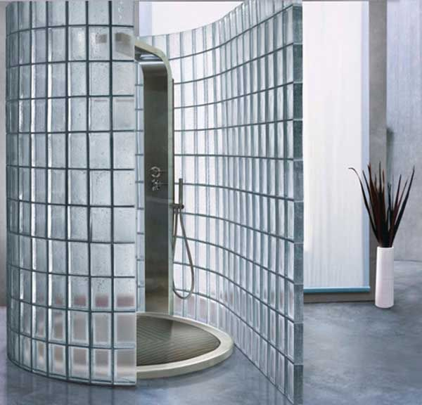 Love the concept of an open shower that has just a hint of privacy. Obviously not to be placed in the middle of your home. :)