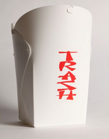 """This wastebasket is a cute way to """"take out"""" the trash. Takeout Trash Can, $14; urbanoutfitters.com."""
