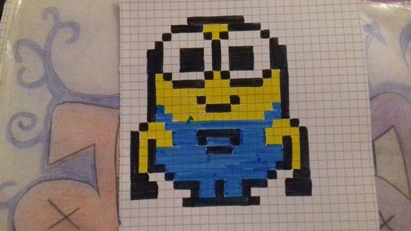 Minion Dessin Petit Carreau Coloriage Pixel Et Dessin Pixel