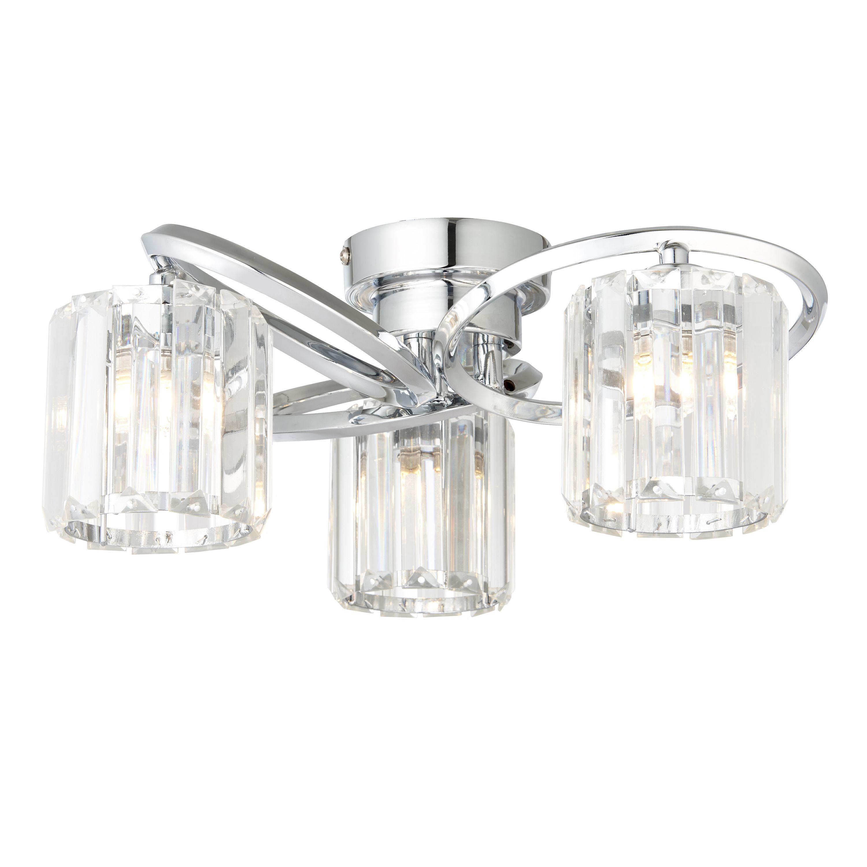 Bromley Bevelled Glass Chrome Effect 3 Lamp Ceiling Light