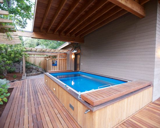 Elegant Terrace Pool Applying Wooden Pool Design and Construction: Inviting Blue And Wood Soaking Tub Placed On Deck Area Of Leschi Residenc...