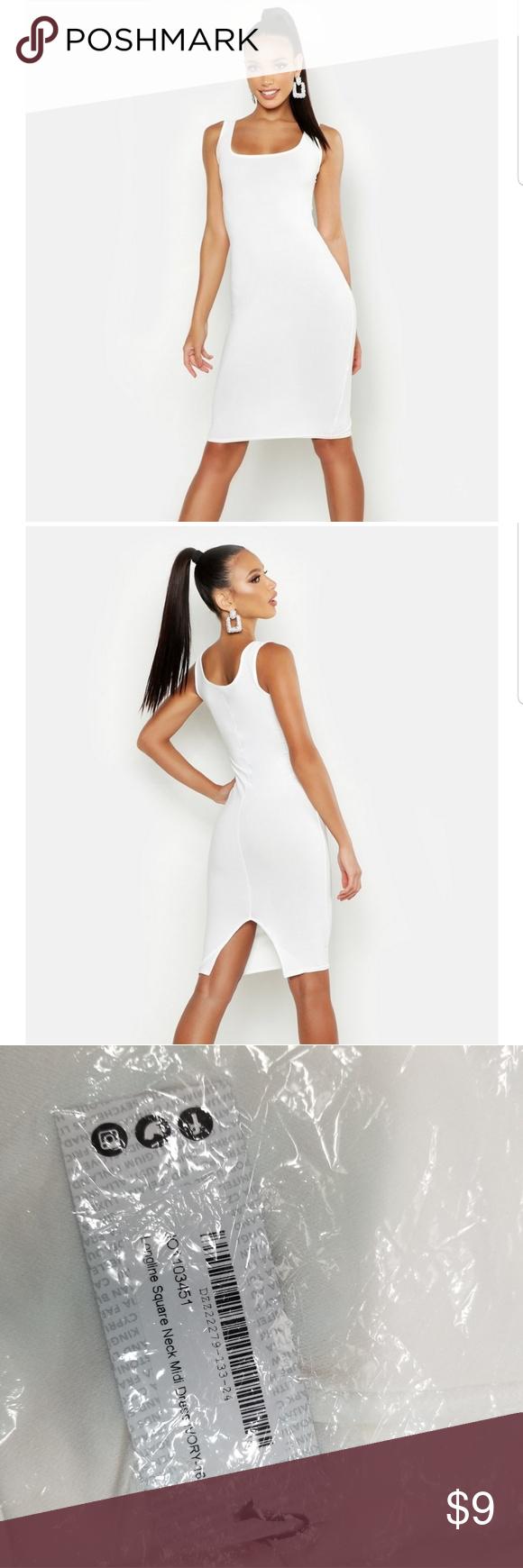 Sold Boohoo Longline Square Neck Midi Dress Boohoo Dresses White Midi Dress Midi Dress [ 1740 x 580 Pixel ]
