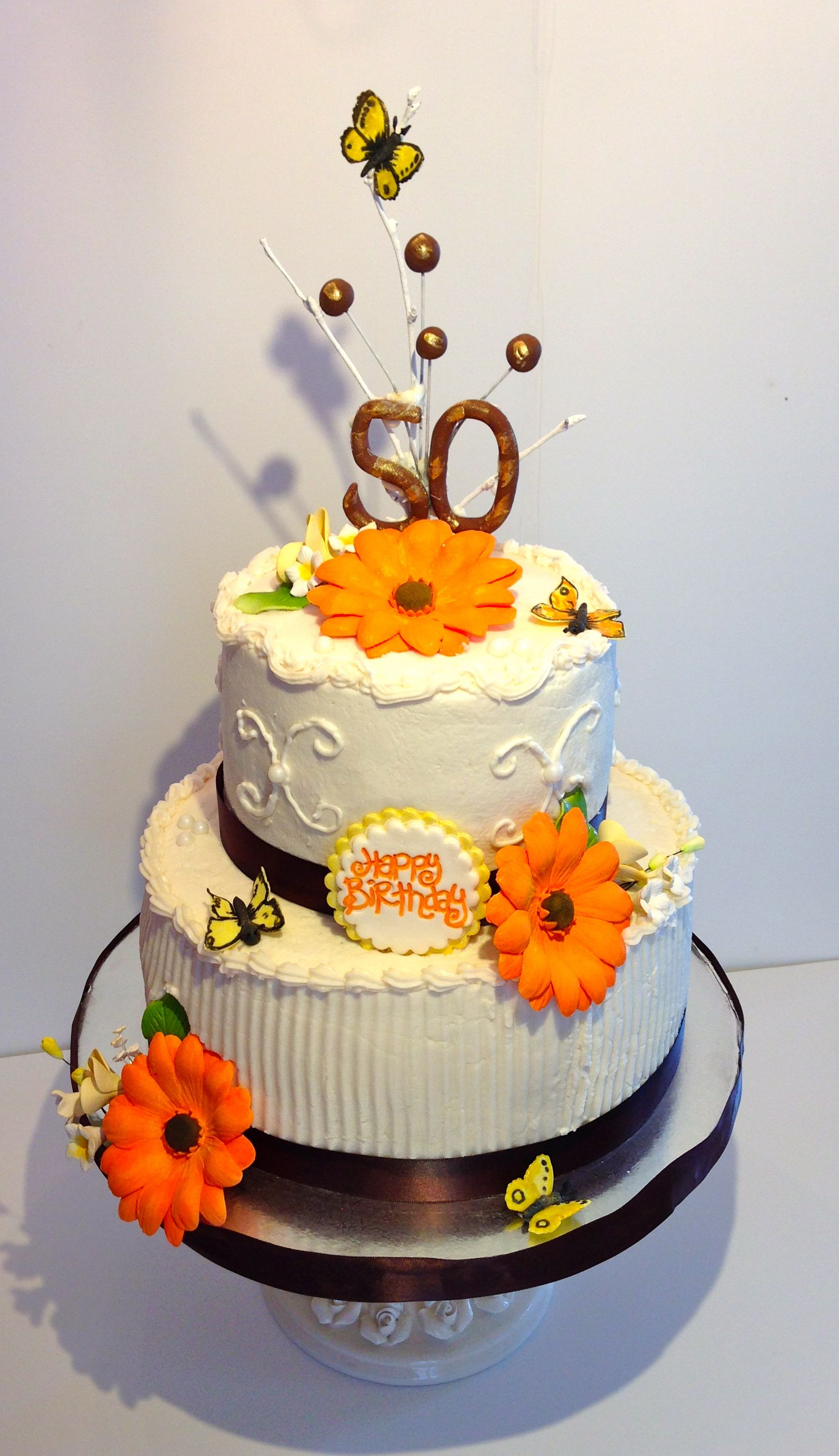 50th birthday cake Chocolate chunk cake filled with fresh