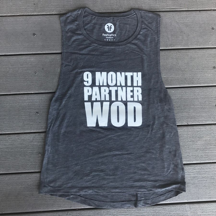 25e8f774edfe1 9 Month Partner WOD maternity muscle tank for all the #strongmoms to be out  there. Link in profile. #fitpregnancy #crossfitmom #momswholift ...