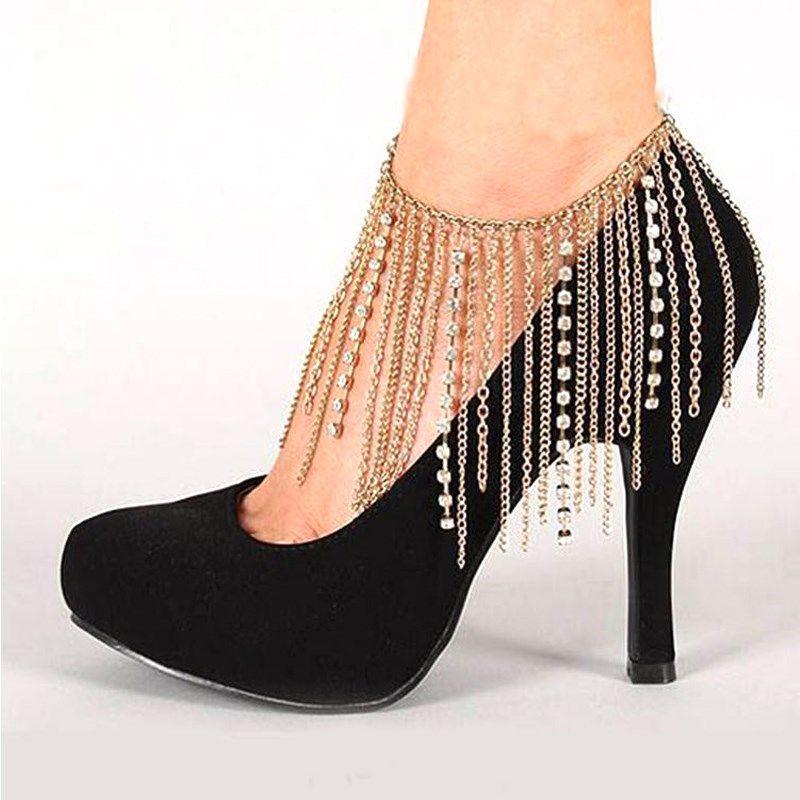 32a3e660140 1 Piece Tassel Rhinestones Chain Shoe Decoration Women High Heel ...
