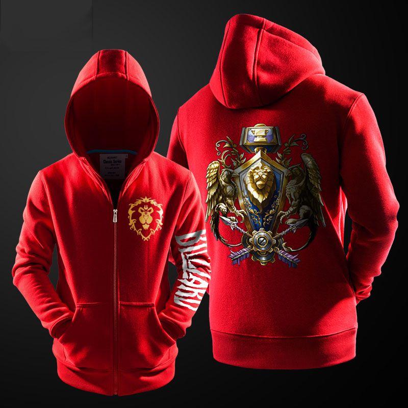 For World of Warcraft the alliance hoodie Winter Zipper Coat Jacket Sweatshirts
