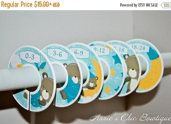 Baby Closet Dividers Teddy Bear dividers Custom closet Boy. These chic gender neutral clothing dividers are the cutest way to keep your little one's clothes organized. These come in Blue, Brown and Yellow Teddy Bear and Moon and stars designs