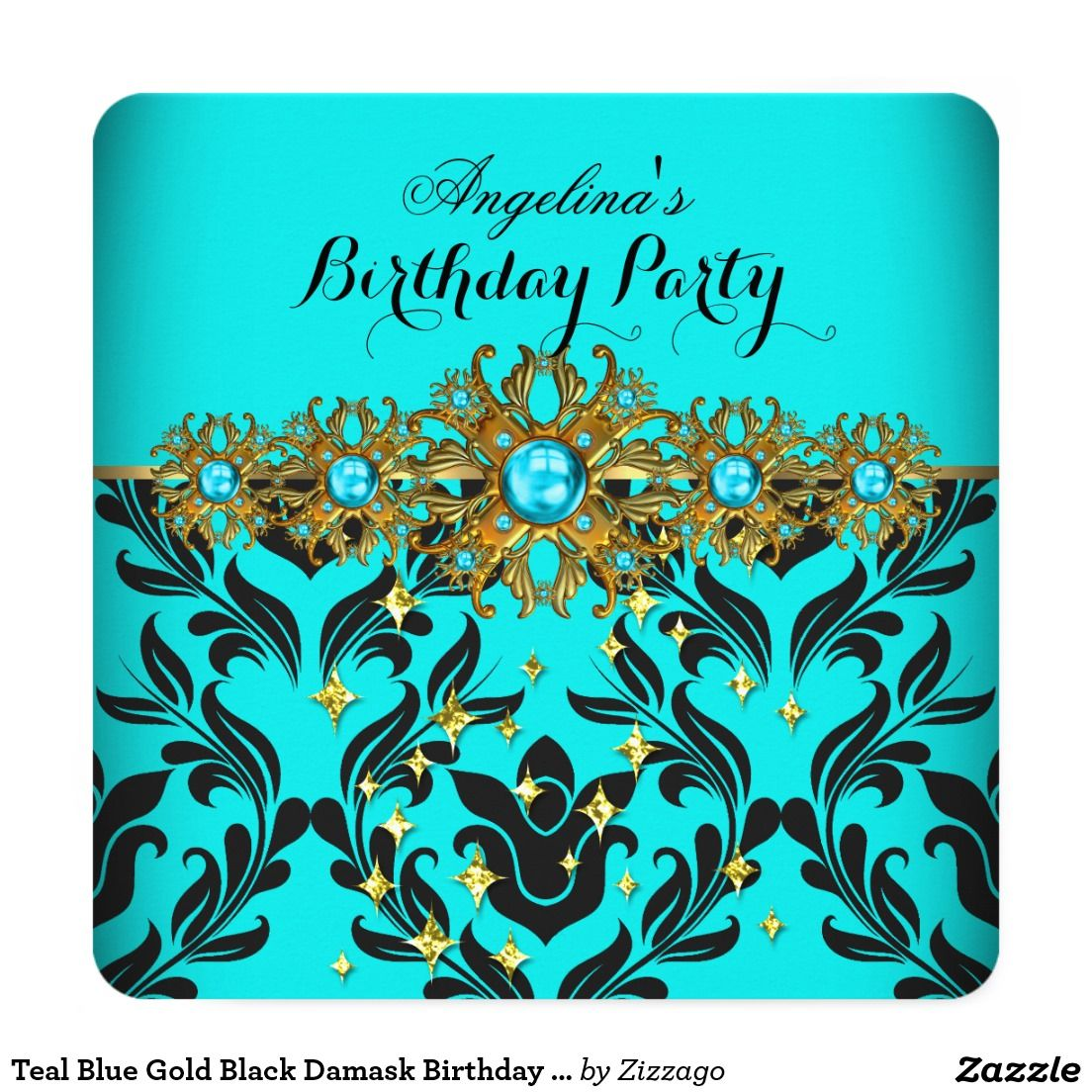 Teal Blue Gold Black Damask Birthday Party 3 5.25x5.25 Square Paper  Invitation Card | Adult birthday invitations, Birthday invitations, Gold  birthday