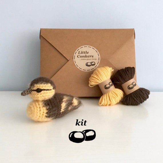 Duckling Crochet Kit / Crochet Duckling DIY Kit Craft Kit Amigurumi Kit Bird Ornament Decoration Pattern Eco Crochet Gift for Crocheter