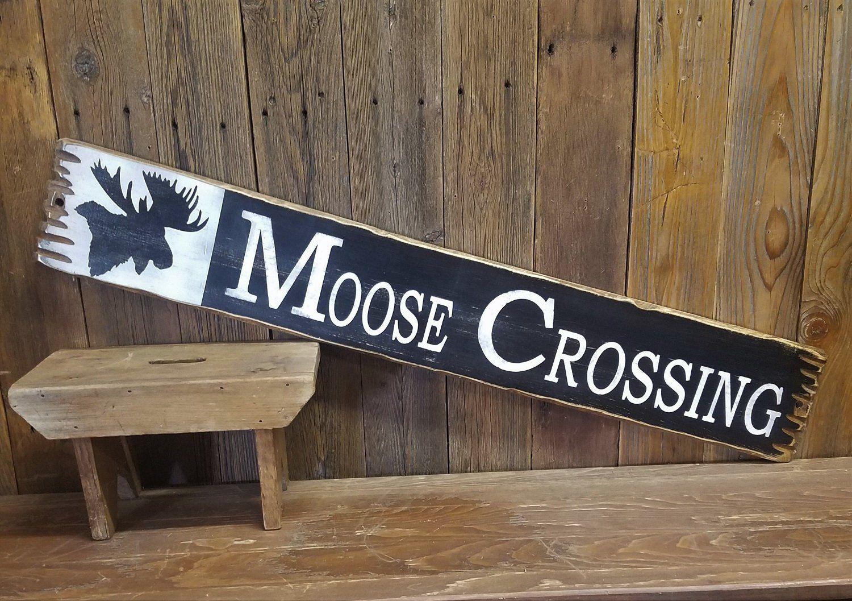 Moose Crossing Rustic Wood Sign Moose Cabin Lodge Log Cabin Decor Moose Decor Rustic Wood Signs Lodge Decor