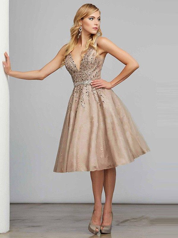 1fa54b48bec A-Line Princess V-neck Sleeveless Knee-Length Satin Beading Dresses ...