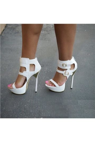 Peep Toe Platform Stiletto Hæl Sandaler Zip White