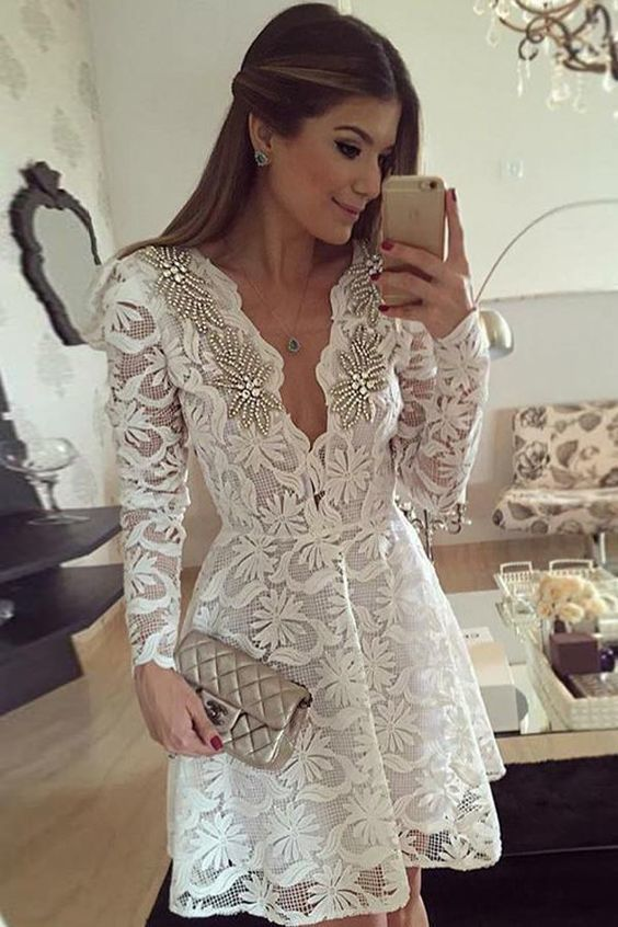 Great Long Sleeves Luxurious Long Sleeve Deep V Neck Homecoming Dress,Lace Appliques Beading Short Prom Dress ML246