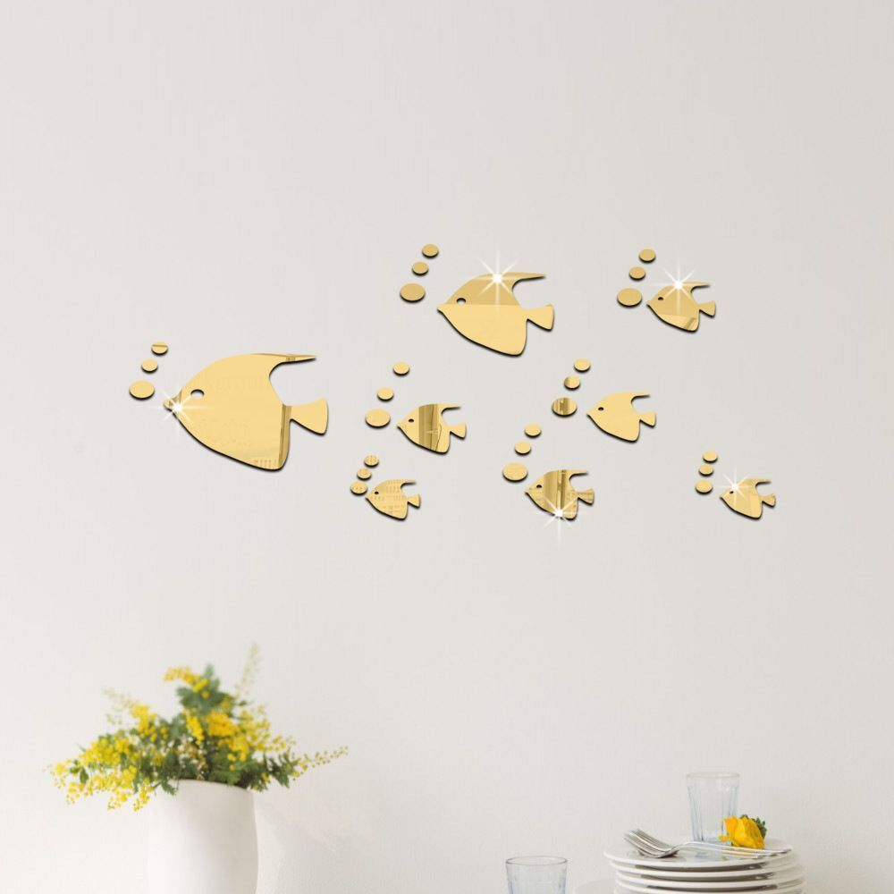 Creative clock background  fish blowing bubbles pattern Mirror stickers childrenus room baby