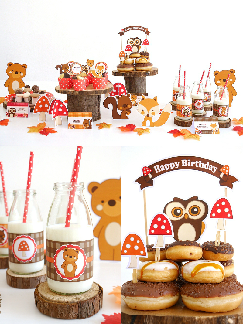 Woodland Birthday Party Printables Supplies Decorations Woodland