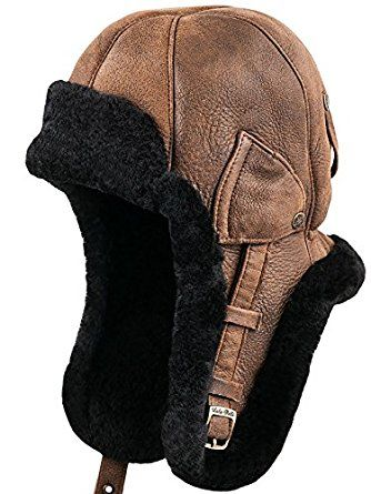 ac301501c79 Sterkowski Warm Natural Shearling Leather Trapper Cap at Amazon Men s  Clothing store