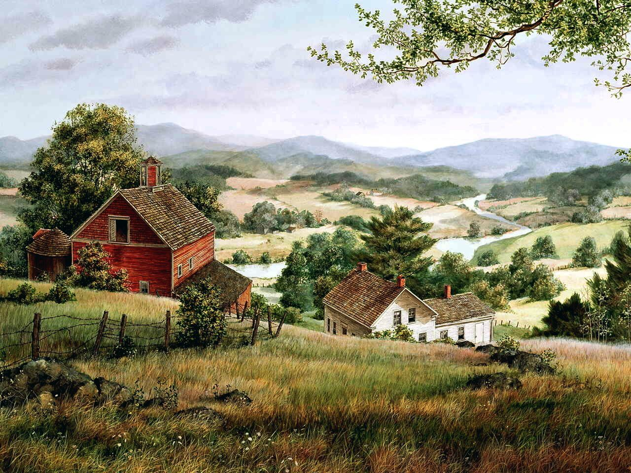 Art by Fred Swan (?) - Like his treatment of pastoral settings.