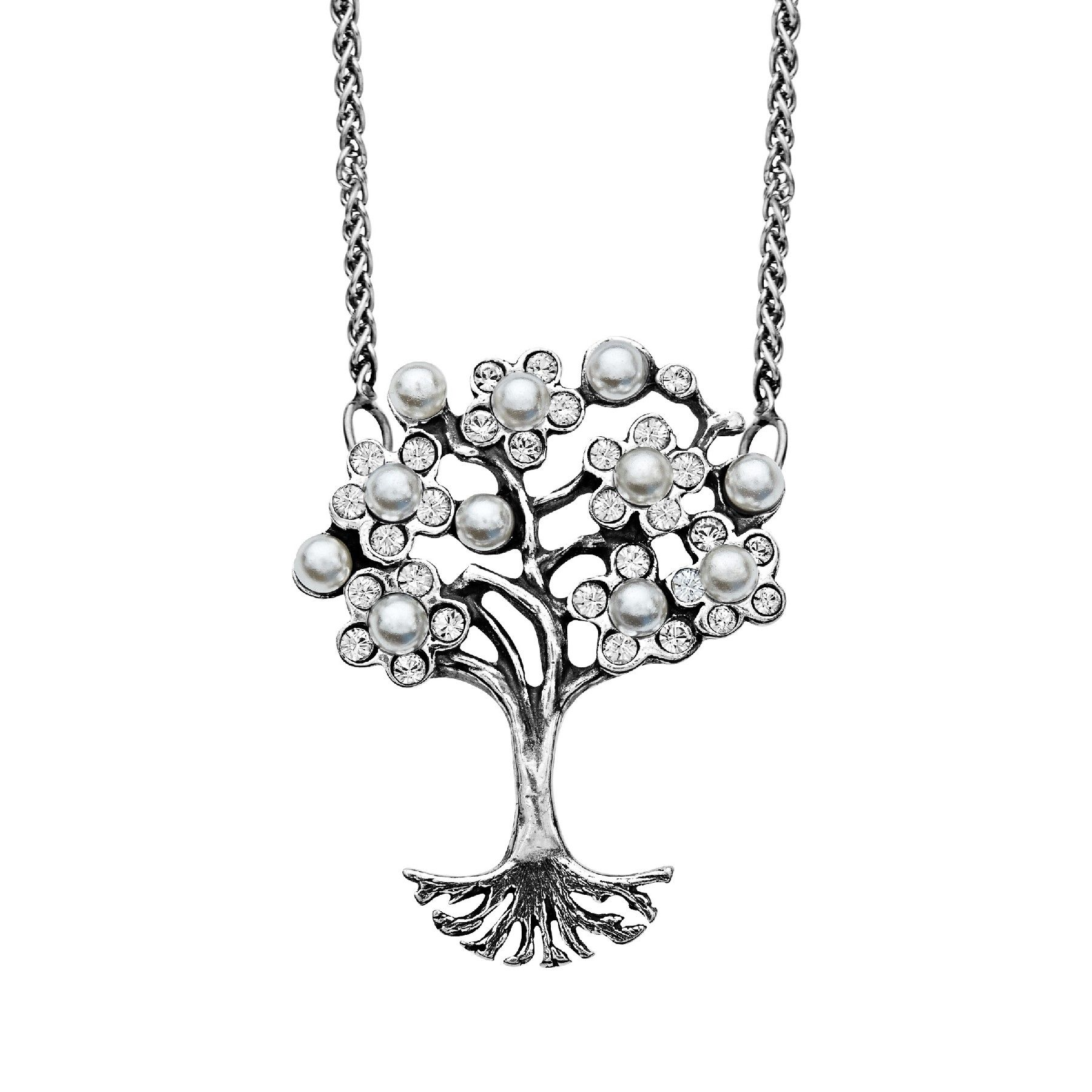18-Inch Rhodium Plated Necklace with 6mm Peridot Birthstone Beads and Sterling Silver Saint Peter Claver Charm.