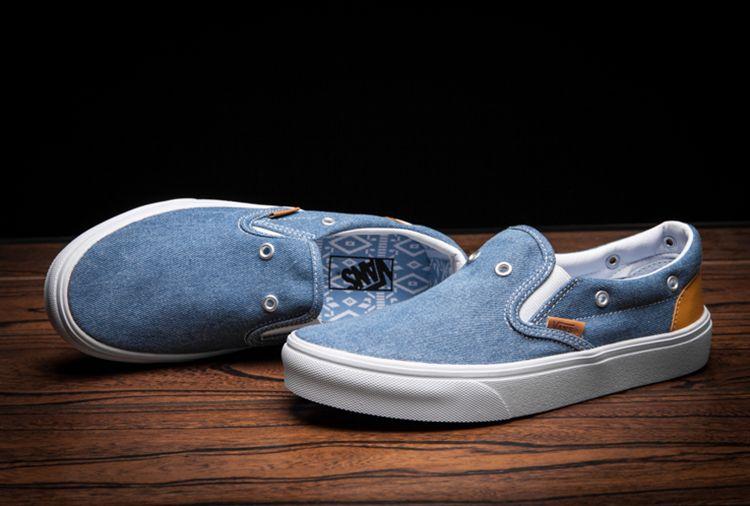 nowe wydanie kupuję teraz najnowszy projekt Limited Edition Vans Blue Jeans Denim Eyelets Slip On Skate ...
