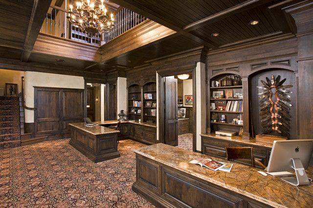 Interior classic elegant his and her home office with for Lavish interior design