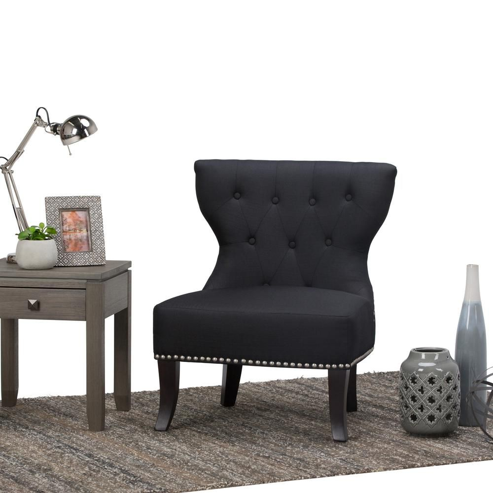Best Simpli Home Kitchener Charcoal Grey Linen Blend Tufted 640 x 480