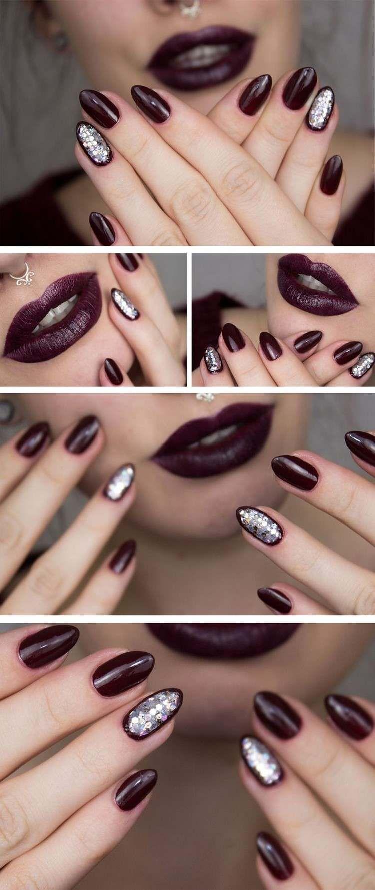 dramatische dunkle Farbe und Nagellack mit silbernen ...