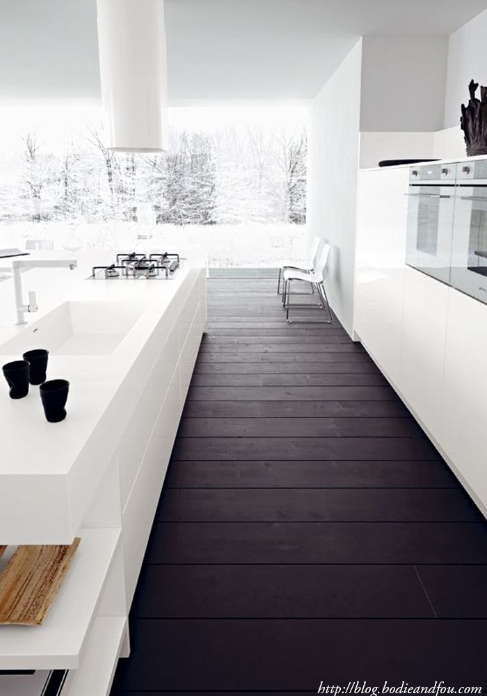Love the simple contrast of the dark floors and white everything else.  http://blog.bodieandfou.com/
