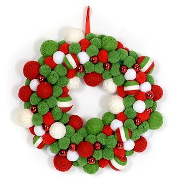 Red Green Yarn Wreath From Kirkland S Want To Diy If I Can Figure It Out Diy Christmas Ornaments Christmas Decorations Holiday Yarn