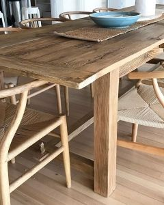 Reclaimed Elm Table With Wishbone Chairs Ready For Some Lucky