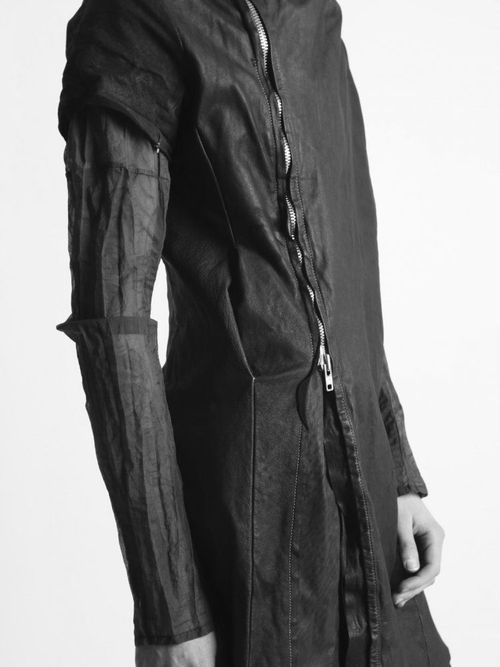 sheer sleeve leather jacket by obscur.