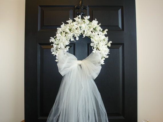 weddings door wreaths First Communion front door outdoors and garden decorations white ivory wreaths country french weddings decor & Make it purple flowers instead. Possibly something to go on the ... pezcame.com