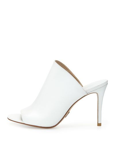 Michael Kors Burnett Leather Mule Slide, Optic White