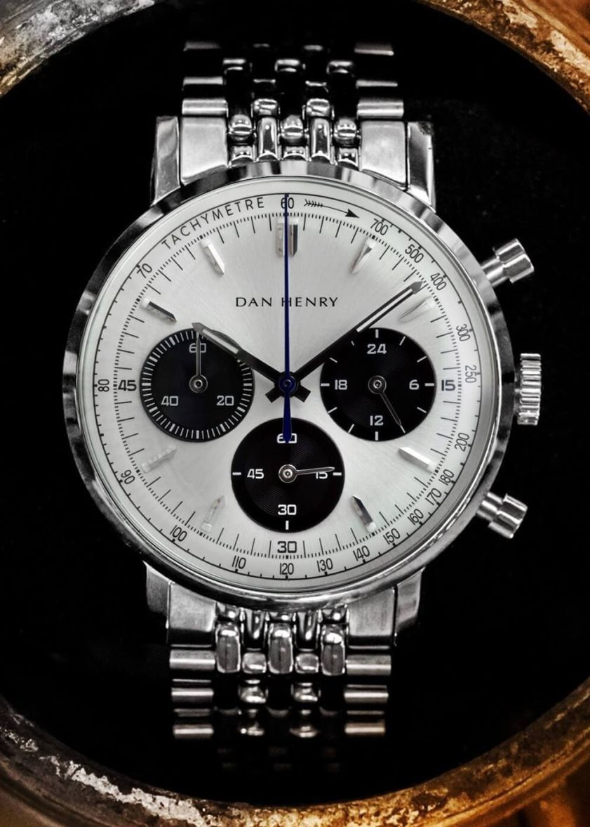 5c0d9d6ed Dan Henry 1967 Gran Turismo. black and white dial watch in ss bracelet.