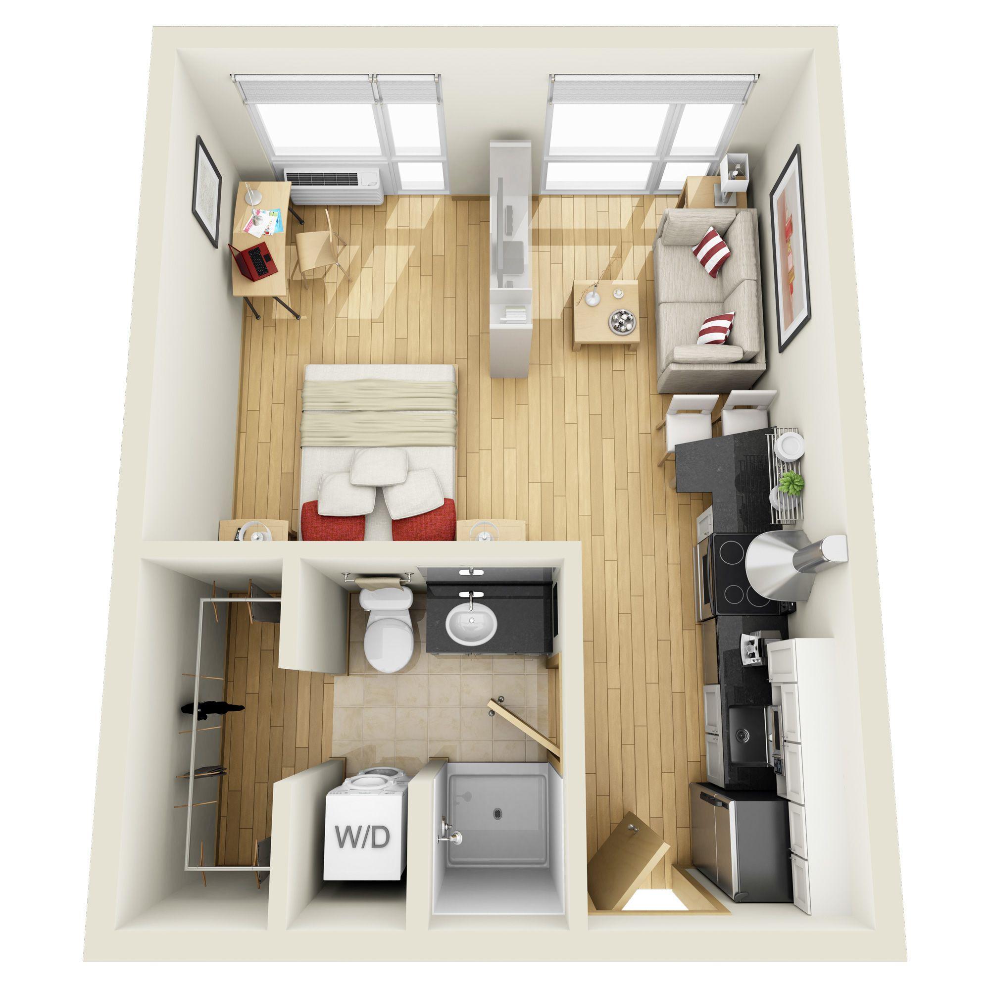 Knottingham Apartments: Studio Floorplans