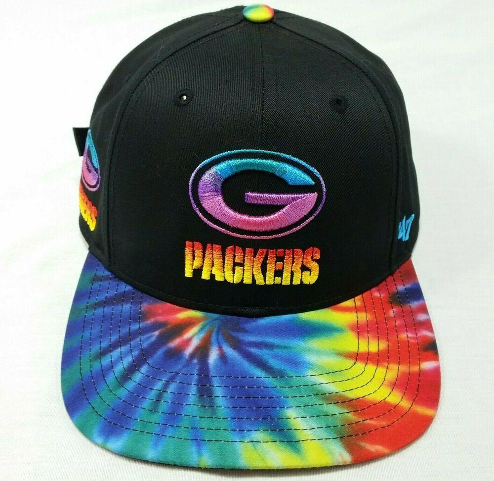 47 Brand Greenbay Packers Hat Black Tie Dye Rainbow Strapback Baseball Cap Nfl 47 Baseballcap Hat Strapback Ca Packers Hat Green Bay Packers Black Tie Dye