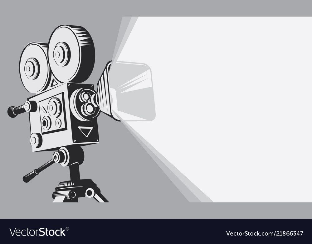 Black And White Backdrop With Vintage Movie Camera Vector Image On Vectorstock In 2020 Camera Illustration Camera Drawing Cameras And Accessories