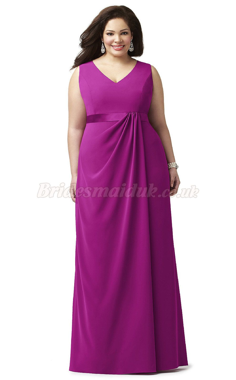 A Line Chiffon V-Neck Fashionable Plus Size Bridesmaid Dresses ...