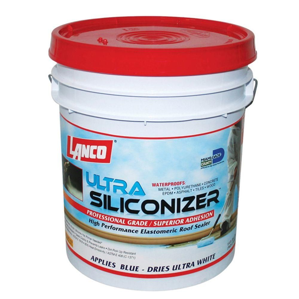 Lanco 5 Gal Ultra Siliconizer 100 Acrylic Elastomeric Reflective Roof Coating Silicone Modified Rc905 2 The Home Depot In 2020 Roof Sealer Roof Coating Roof