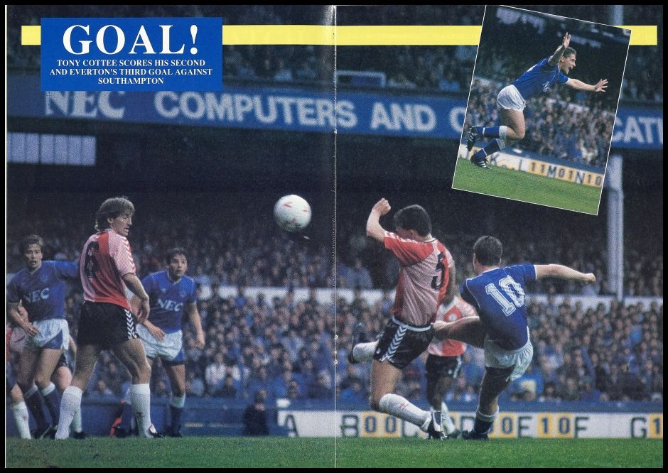 8 October Tony Cottee scores his second, Everton's third, as the Blues beat Southampton 4-1