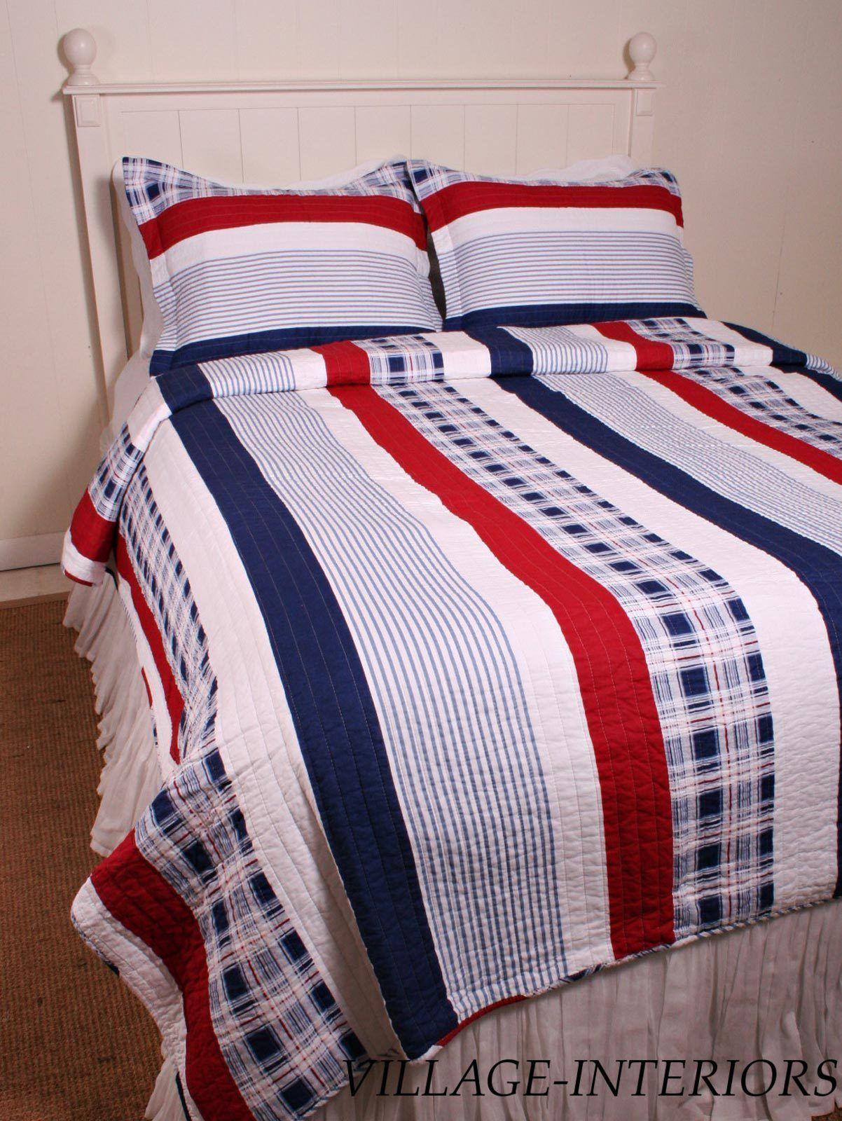 Red Blue White Americana Nantucket Stripe Twin 100 Cotton Quilt Shams Set | eBay
