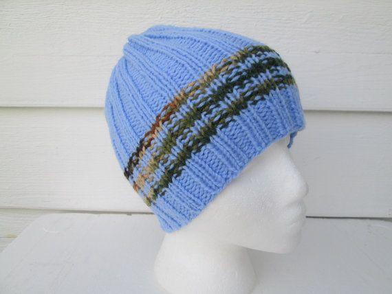Unisex CAMO mens beanie hat Striped Ribbed Crochet by Ritaknitsall