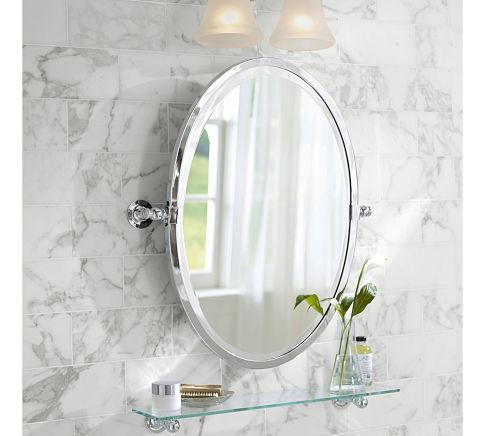 In The Half Bath, I Like An Oval Mirror Or Recessed Medicine Cabinet Above  Pedestal
