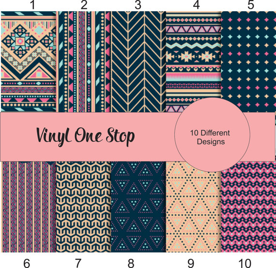 Southwestern Aztec Multi Color Printed Vinly Permanent Etsy Patterned Heat Transfer Vinyl Colorful Prints Vinyl Sheets