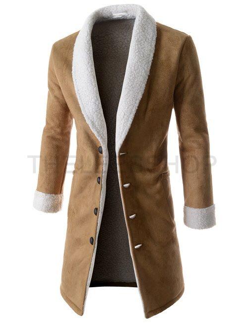 (CELC08-CAMEL) Mens Slim Fit Inner Faux Fur Front Pocket 4 Button Mustang Long  Coat 83d29003d